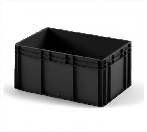 Plastic crate 800х600х320 black in colour with smooth...