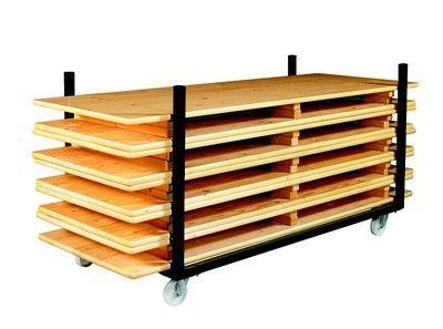 Chariot tables bois brasserie