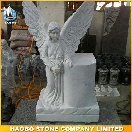 Delicate Carrara White Marble Angel Headstone For Cemetery