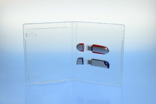 BluRay Box - für 2 USB-Stick's - transparent -