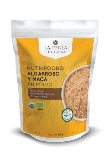 Paket mit 200 Gramm Algarrobo- und Maca-Pulver