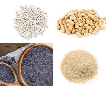 Sunflower seeds, Blue and white poppy seeds, chickpeas etc