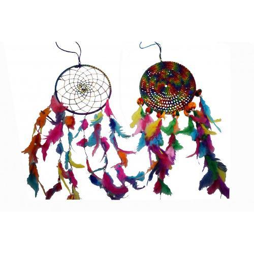 """Atrapasueños Multicolor 20.5cmø 8"""" Croché Y Pompones (precio Por Unidad)"""