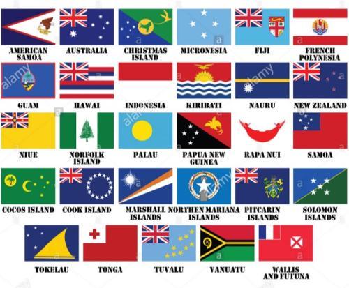 Bandiere Oceania per abbigliamento ricamate