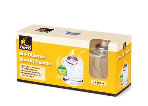 FIRE & DECO Bio-Ölkerzen 3 Stück 150 ml