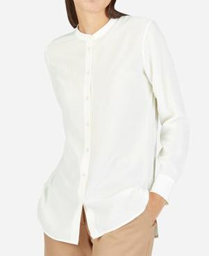 Crepe De Chine Silk Shirts without Collar