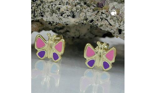 Boucles d'oreilles, rose-bleu