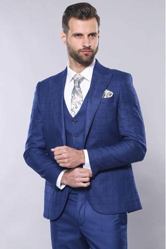 Mavi Ekose Yelekli Takım Elbise