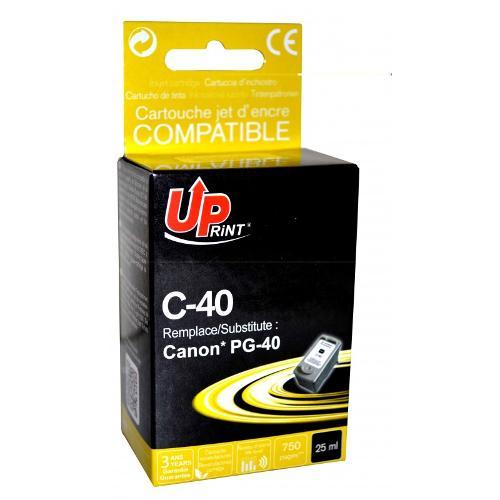 Jet D'encre Uprint C-40- Compatible Canon Ip1200/1600-pg40-xl Noir