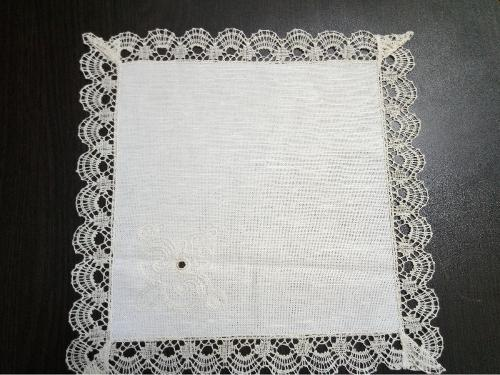 """Napkin """"Snowy"""" with  handmade laces"""