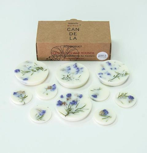 "Juniper & Limonium, Scented Soy Wax Rounds ""5 SENSES"""