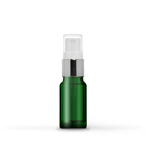 10ml Green Glass Bottle With Silver Spray Head (10 Pcs)