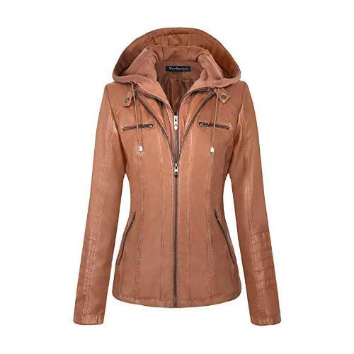 Women Hooded Faux Leather Jacket