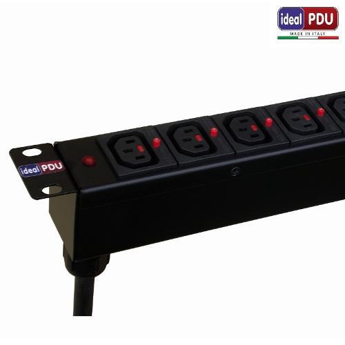 "PDU Multipresa 19"" 1HE Serie VDE IEC Antisgancio"