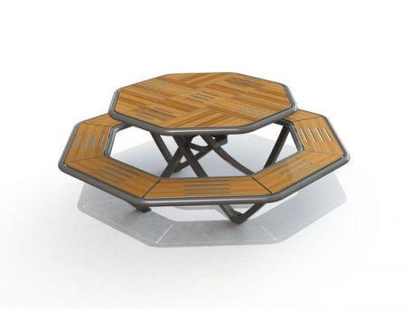 Table pique nique compact octogonale