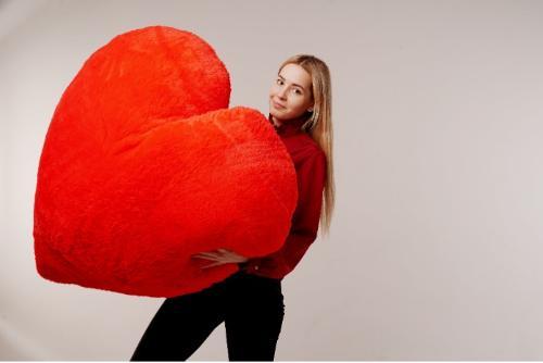 """Мягкая игрушка Yarokuz подушка """"Сердце"""" 150 см Красная"""