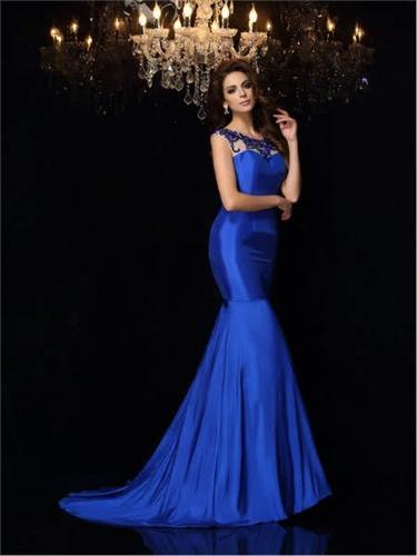 Fish Model Satin Evening Dress