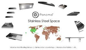 Stainless steel floating shelves, countertops