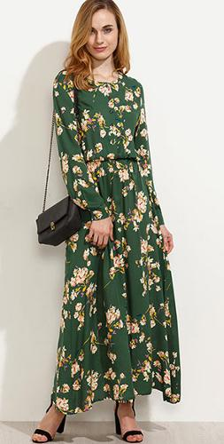 Viscose printed maxi dress