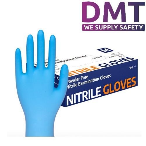 Disposable blue medical surgical nitrile gloves EN455