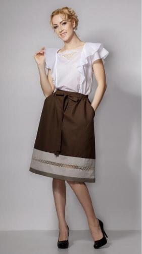 Brown skirt made of 100% linen