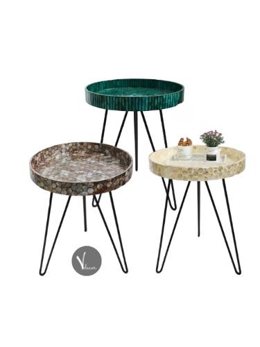 Round Stylish Mosaic Lacquer Tray Table