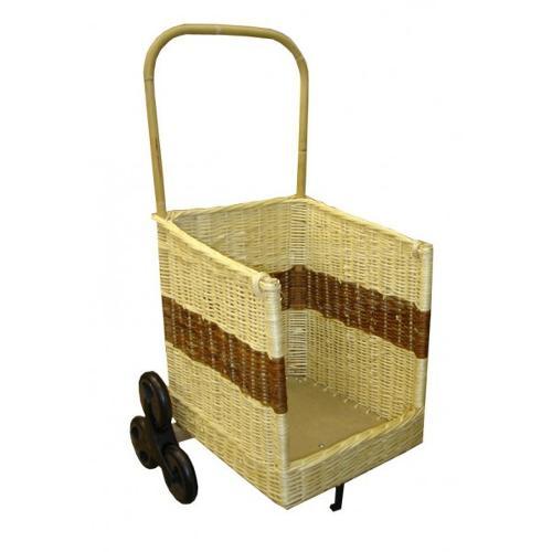 Chariot à bois carré 6 roues bicolore