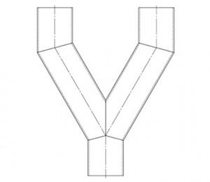 Fork with parallel outlets