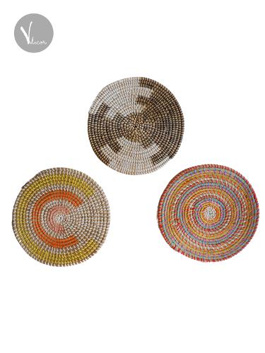 Bright Round Multi-Colour Seagrass Placemats