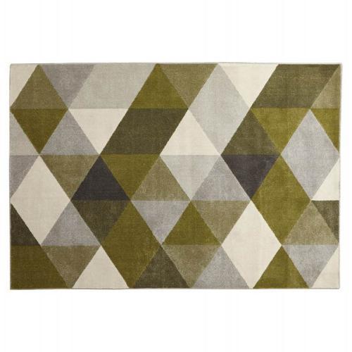 Tapis design style scandinave GEO (vert, gris, beige)