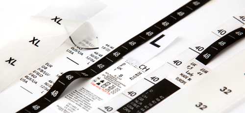 Printed size labels
