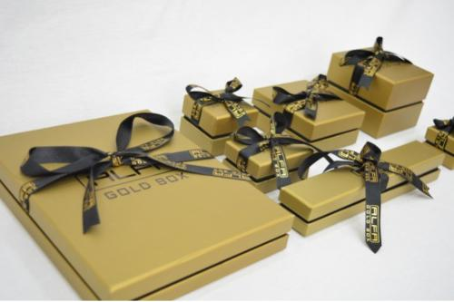 Gold & Black Jewellery Box with Personalized Printed Ribbon