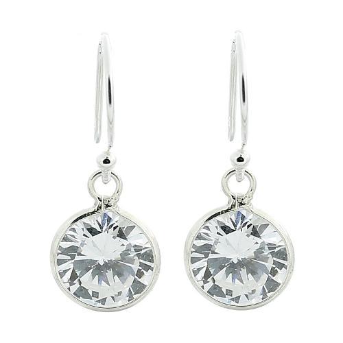 Cubic Zirconia Sterling Silver Dangle Earrings