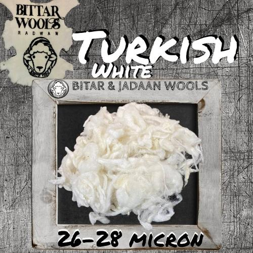 Turkish white wool washed and cleaned 100% No.104 30-32 micr
