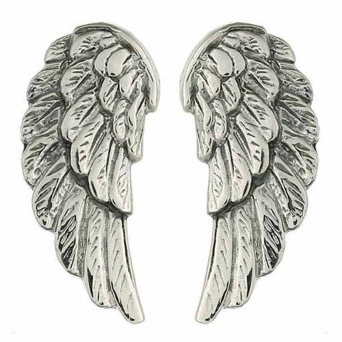 Antiqued Sterling Silver Angel Wings Stud Earrings
