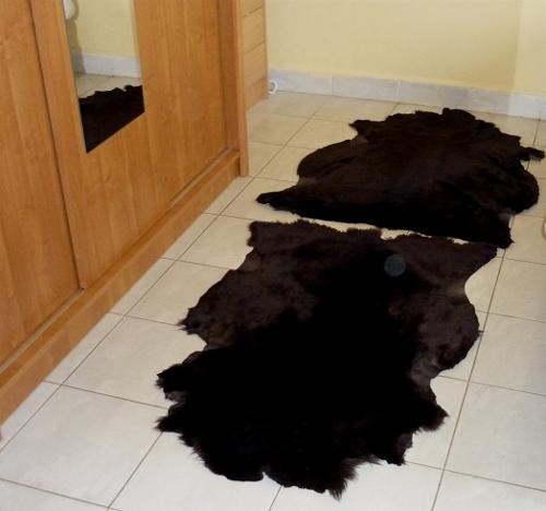Shorn lamb fur skins in different colors