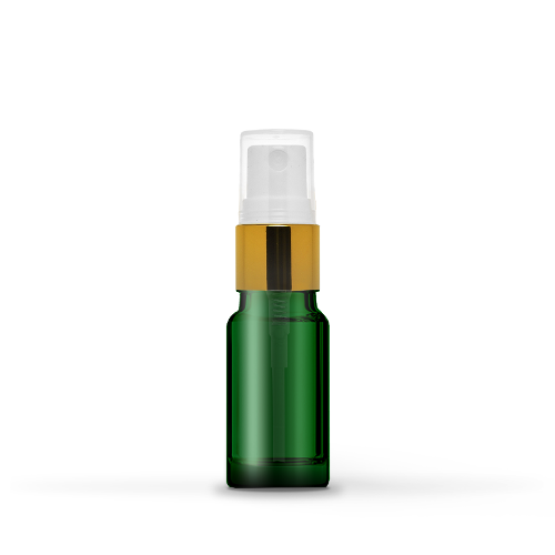 10ml Green Glass Bottle With Gold Spray Head (10 Pcs)