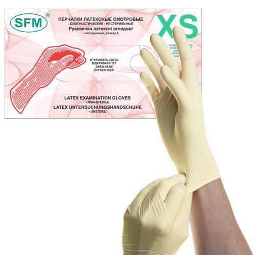 SFM Latex Untersuchungs Handschuhe puderfrei weiss XS (100)