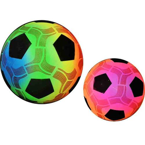 BALLON FLUO ARC-EN-CIEL/FILET 23CM 80GR