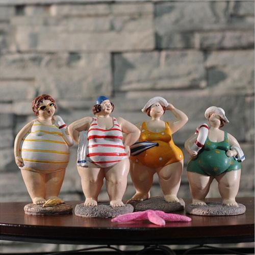 Custom resin bikini fat lady figurines