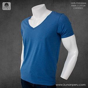 camiseta cuello V 100% algodon pima