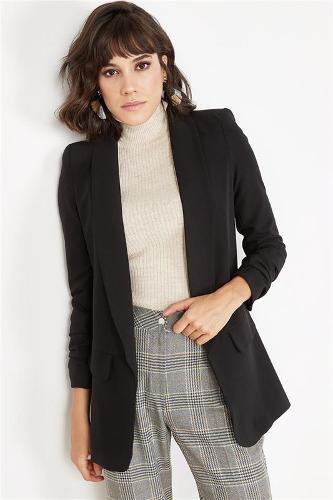 Women's Black Drawstring Jacket Sleeve