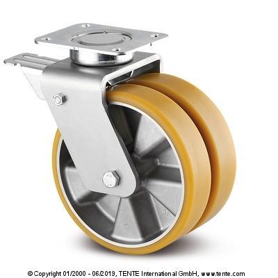 roulette jumelée à frein pour manutention lourde