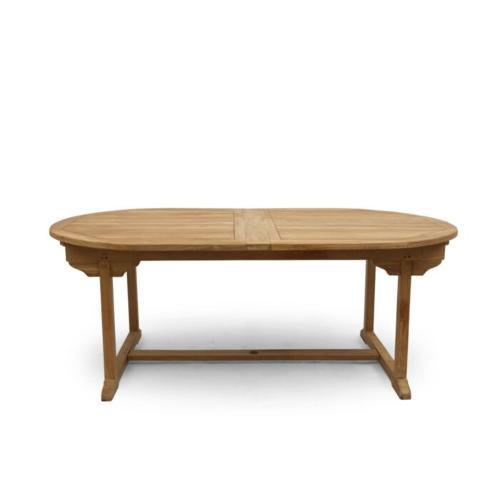 ovale uitschuifbare tuintafel teak hout