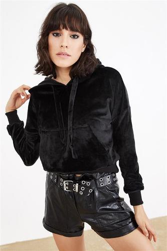 Black Women's Velor Hooded Sweatshirts
