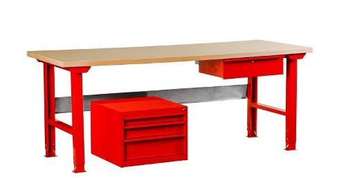Metal table with a drawer and regulated height of legs.