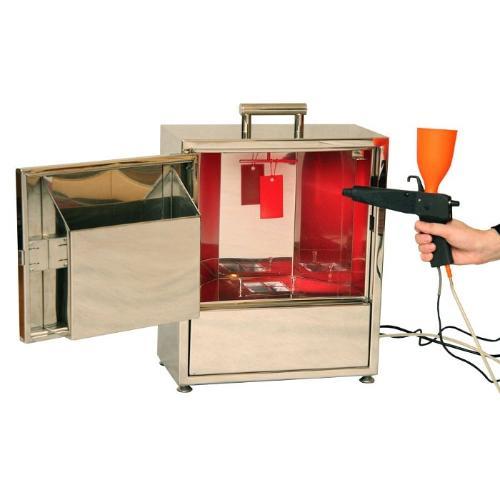 Portable powder coatings spray complex
