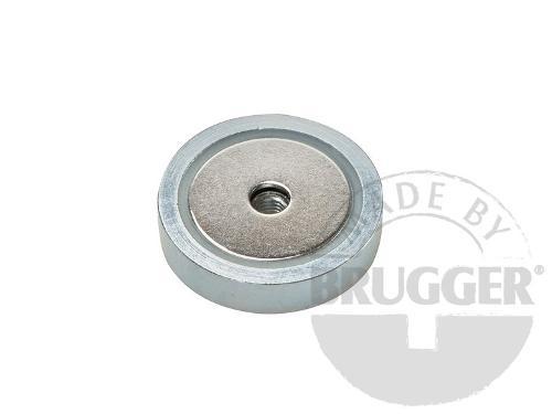 Flat pot magnets NdFeB, with internal thread, galvanized