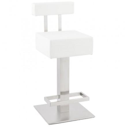 Tabouret carré rotatif mi-hauteur ESCAULT MINI blanc