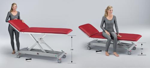 Height adjustable examination and treatment couches